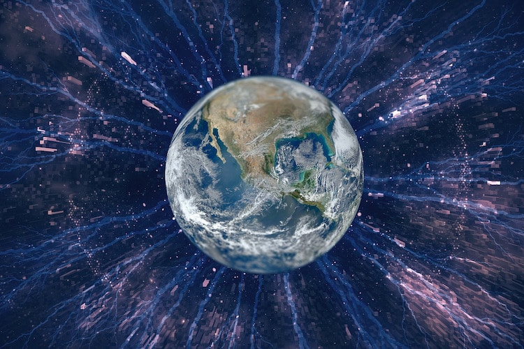 Image of the Earth under attack